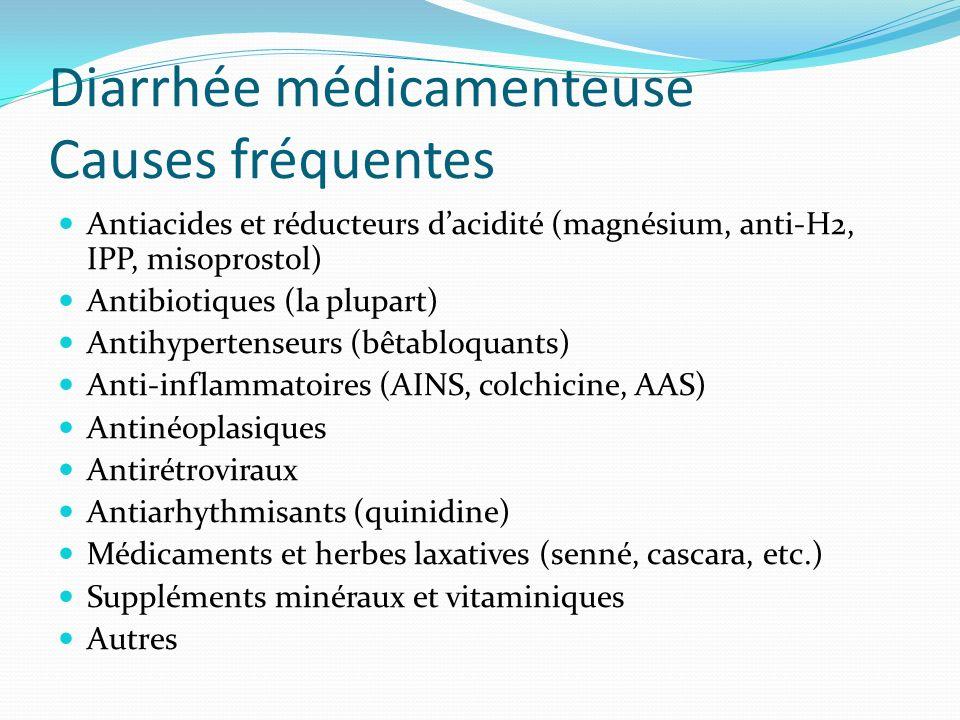 Diarrhée médicamenteuse Causes fréquentes Antiacides et réducteurs dacidité (magnésium, anti-H2, IPP, misoprostol) Antibiotiques (la plupart) Antihype