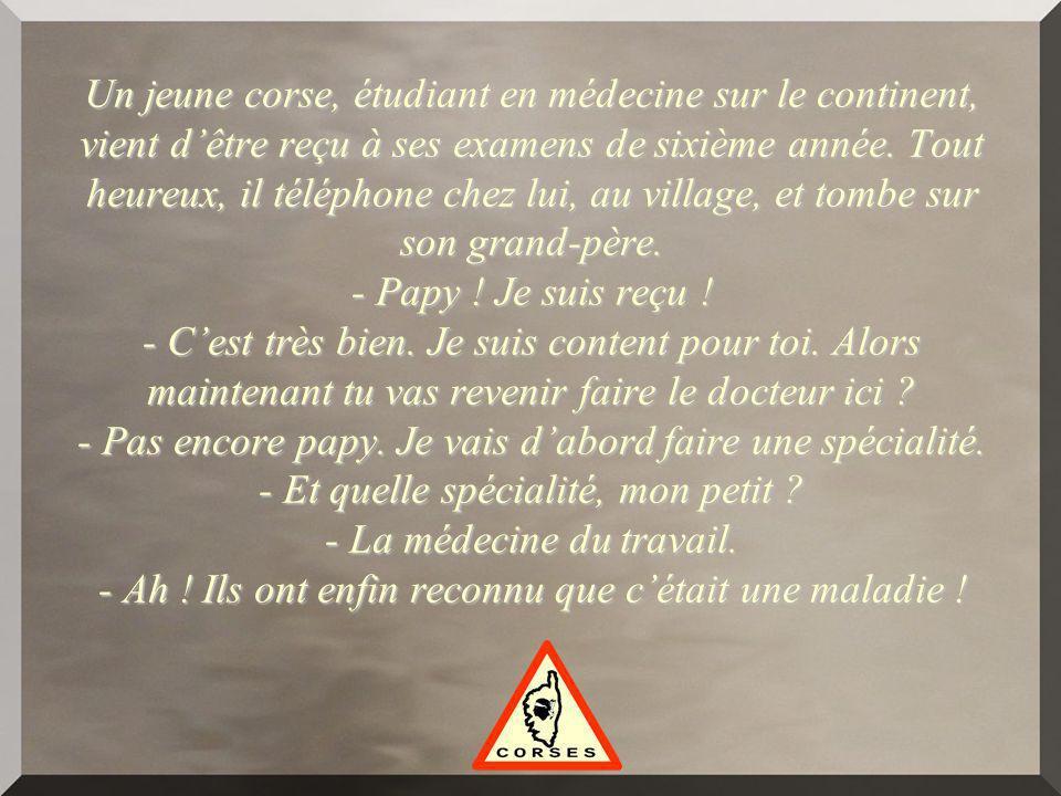 Un jeune corse, étudiant en médecine sur le continent, vient dêtre reçu à ses examens de sixième année.