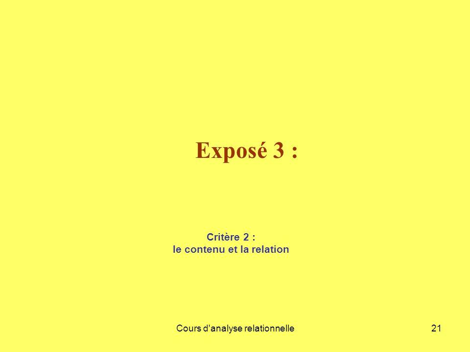 Cours d'analyse relationnelle21 Exposé 3 : Critère 2 : le contenu et la relation