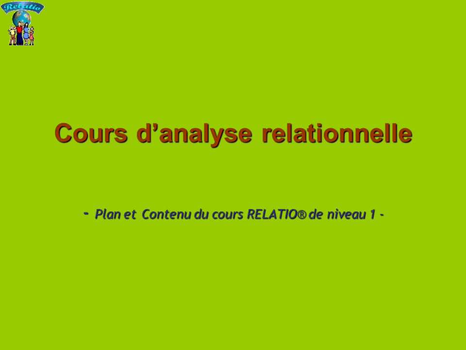 Cours d analyse relationnelle45 Rappel des 9 critères principaux - à travailler pour analyser et modifier nos relations - 1.Carte / Territoire (C / T) 2.Contenu / Relation (Co / Rel) 3.Hiérarchie : Dominant (>) / Égalitaire (=) / Dominé (<) 4.Coopération / Conflit (P / G) 5.Ponctuation : Entreprenant (N1) / Réactif (N2) 6.Centre de la relation : Je / Nous / Eux (les autres) 7.Calme – Exalté (Ca / # ) 8.Stratégique / Rigide (S / Ri) 9.Variété (V) Entre parenthèses le codage de ces critères pour les pratiquants aguerris