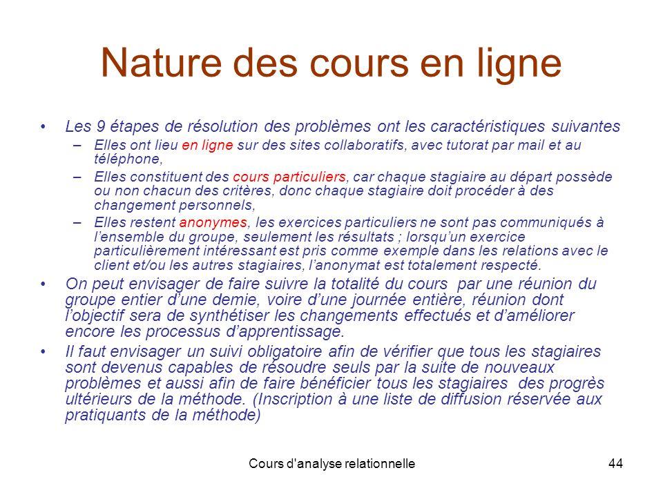 Cours d'analyse relationnelle44 Nature des cours en ligne Les 9 étapes de résolution des problèmes ont les caractéristiques suivantes –Elles ont lieu