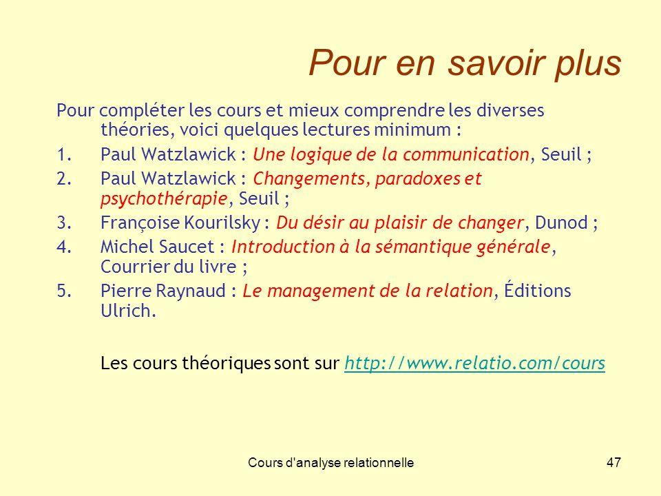 Cours d'analyse relationnelle47 Pour en savoir plus Pour compléter les cours et mieux comprendre les diverses théories, voici quelques lectures minimu