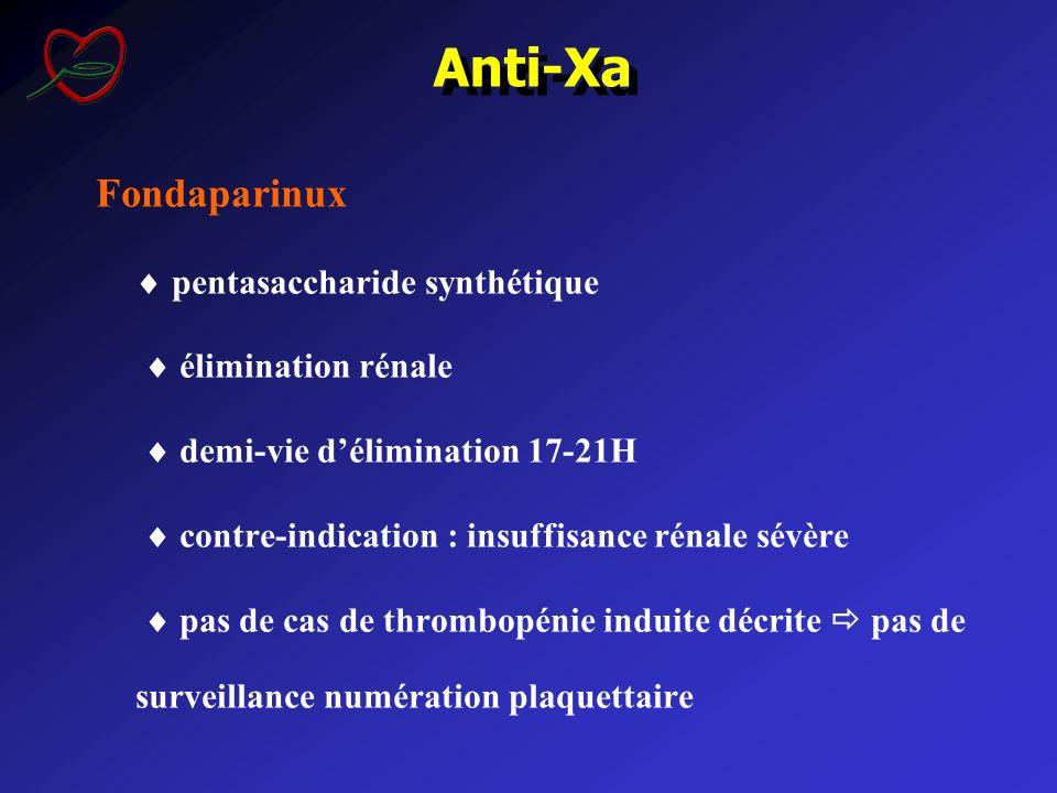 Fondaparinux pentasaccharide synthétique élimination rénale demi-vie délimination 17-21H contre-indication : insuffisance rénale sévère pas de cas de