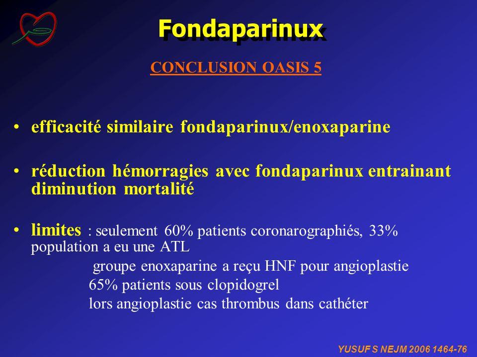 Fondaparinux CONCLUSION OASIS 5 efficacité similaire fondaparinux/enoxaparine réduction hémorragies avec fondaparinux entrainant diminution mortalité