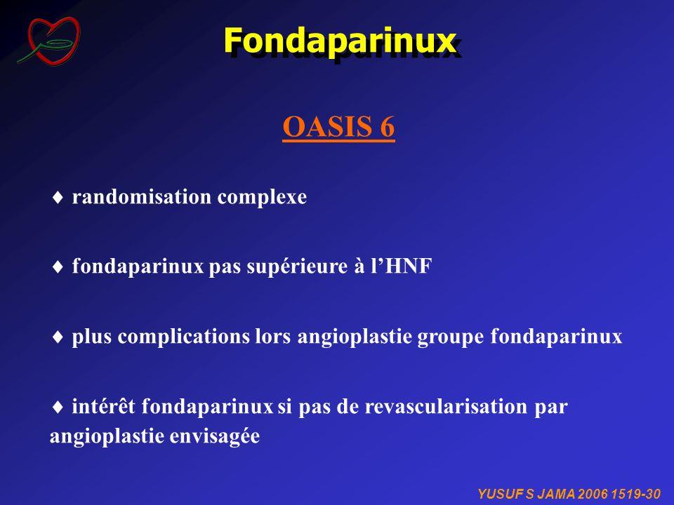 Fondaparinux YUSUF S JAMA 2006 1519-30 OASIS 6 randomisation complexe fondaparinux pas supérieure à lHNF plus complications lors angioplastie groupe f