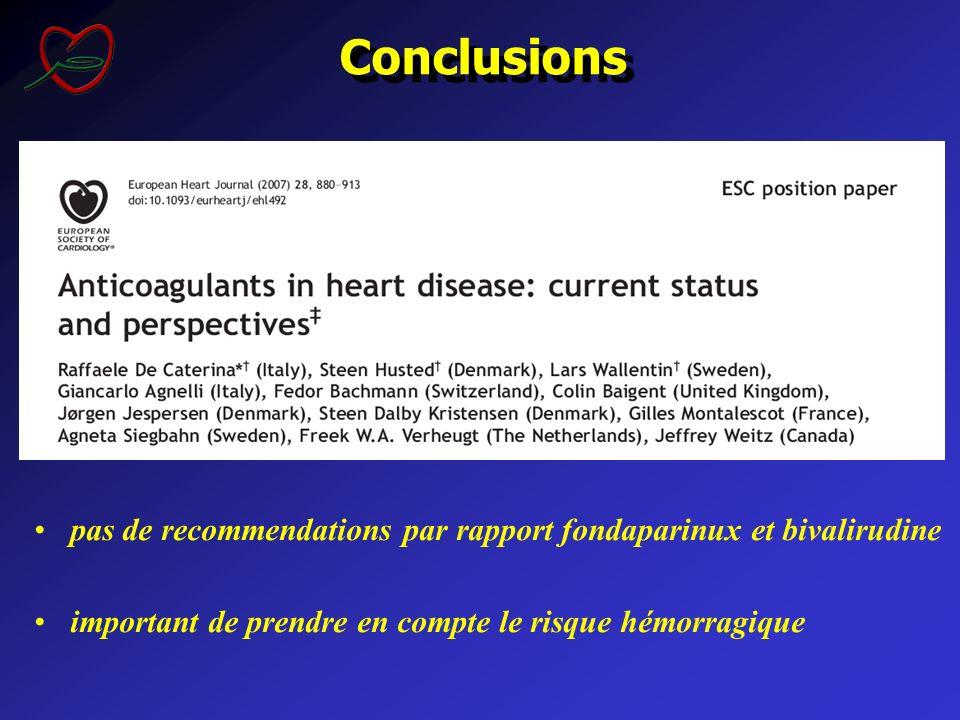 Conclusions pas de recommendations par rapport fondaparinux et bivalirudine important de prendre en compte le risque hémorragique