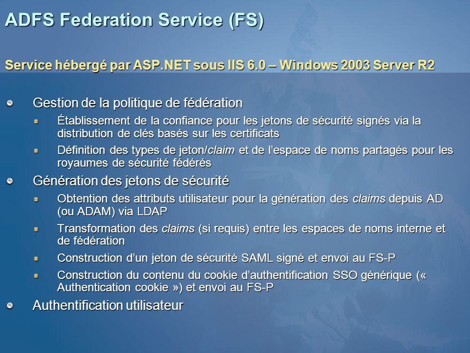 ADFS Federation Service (FS) Service hébergé par ASP.NET sous IIS 6.0 – Windows 2003 Server R2 Gestion de la politique de fédération Établissement de