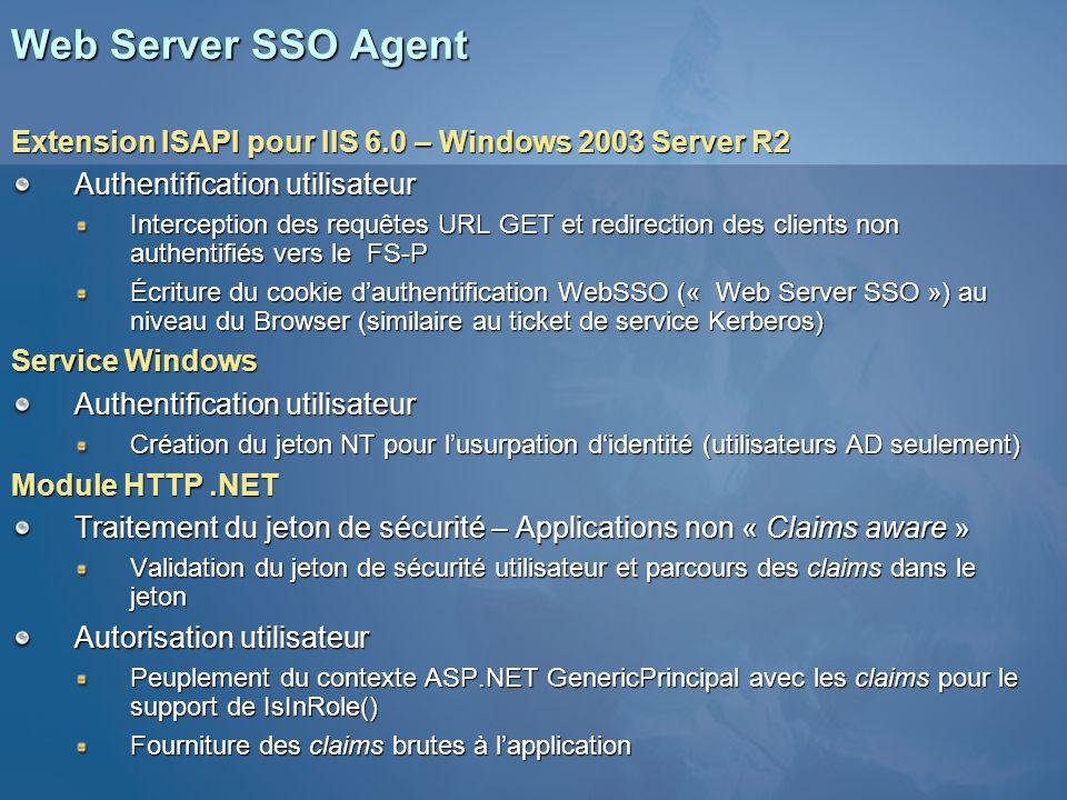 Web Server SSO Agent Extension ISAPI pour IIS 6.0 – Windows 2003 Server R2 Authentification utilisateur Interception des requêtes URL GET et redirecti
