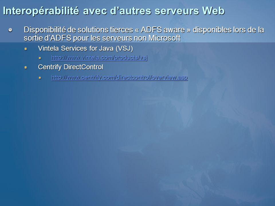 Interopérabilité avec dautres serveurs Web Disponibilité de solutions tierces « ADFS aware » disponibles lors de la sortie dADFS pour les serveurs non
