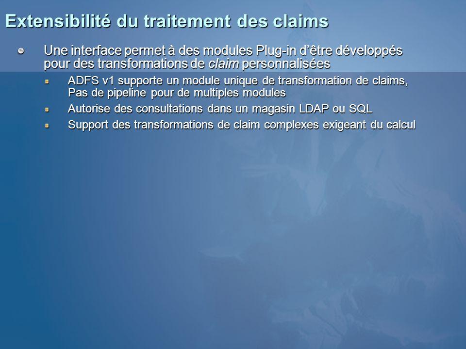 Extensibilité du traitement des claims Une interface permet à des modules Plug-in dêtre développés pour des transformations de claim personnalisées AD