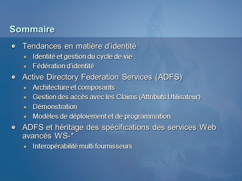 Sommaire Tendances en matière didentité Identité et gestion du cycle de vie Fédération didentité Active Directory Federation Services (ADFS) Architect