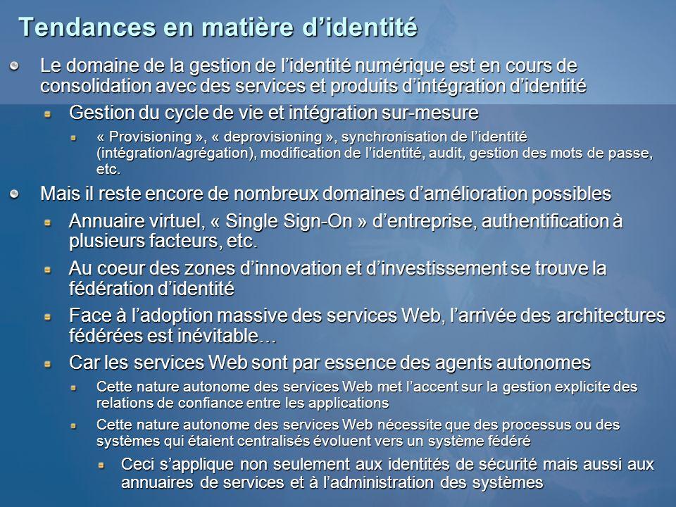Tendances en matière didentité Le domaine de la gestion de lidentité numérique est en cours de consolidation avec des services et produits dintégratio