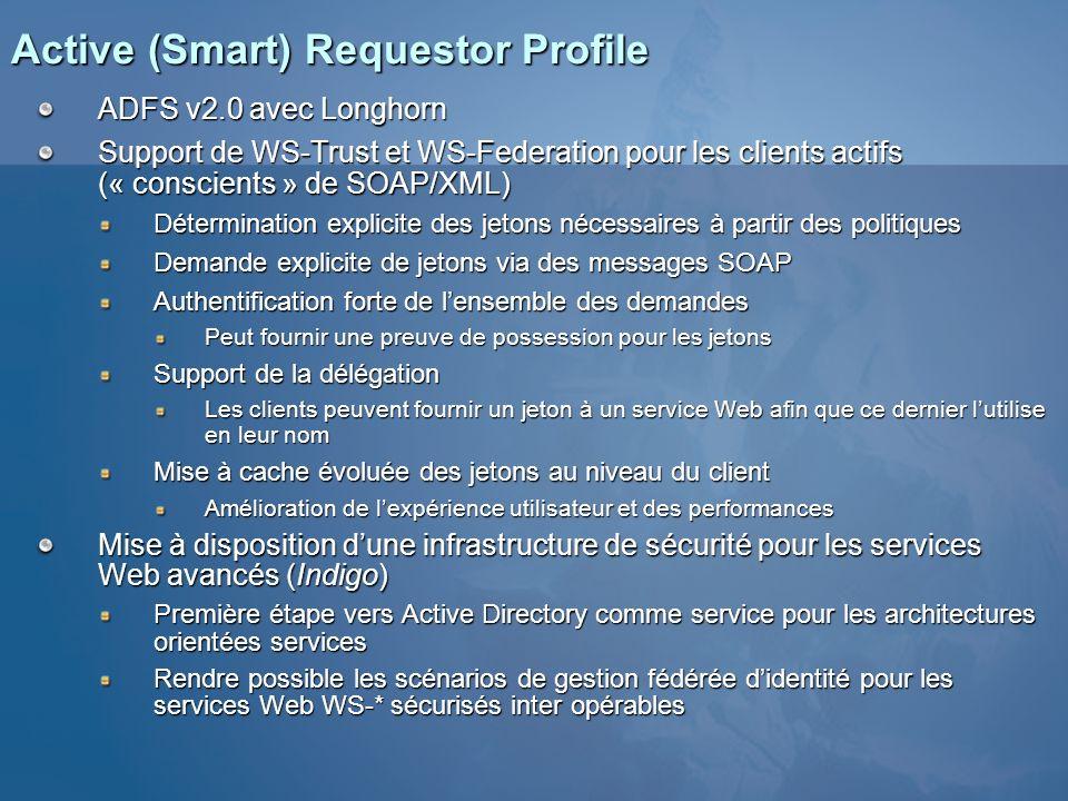 Active (Smart) Requestor Profile ADFS v2.0 avec Longhorn Support de WS-Trust et WS-Federation pour les clients actifs (« conscients » de SOAP/XML) Dét