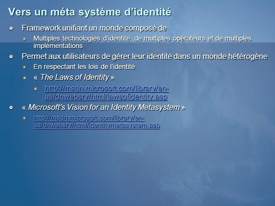 Vers un méta système didentité Framework unifiant un monde composé de Multiples technologies didentité, de multiples opérateurs et de multiples implém