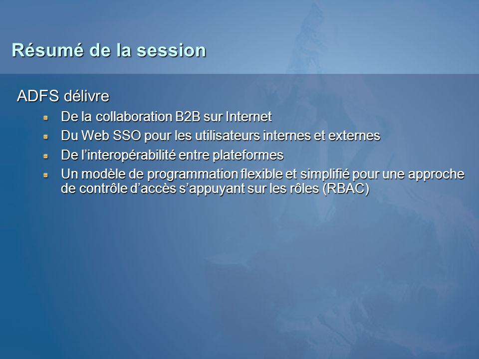 Résumé de la session ADFS délivre De la collaboration B2B sur Internet Du Web SSO pour les utilisateurs internes et externes De linteropérabilité entr