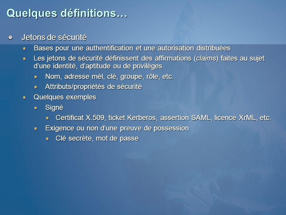 Quelques définitions… Jetons de sécurité Bases pour une authentification et une autorisation distribuées Les jetons de sécurité définissent des affirm