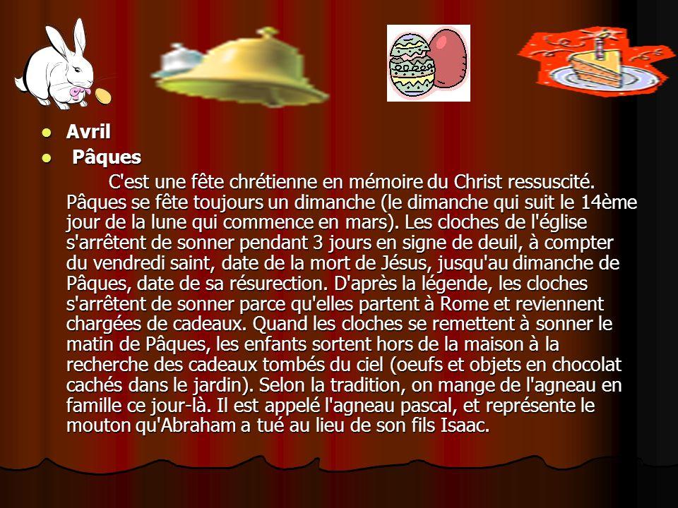 Avril Avril Pâques Pâques C'est une fête chrétienne en mémoire du Christ ressuscité. Pâques se fête toujours un dimanche (le dimanche qui suit le 14èm