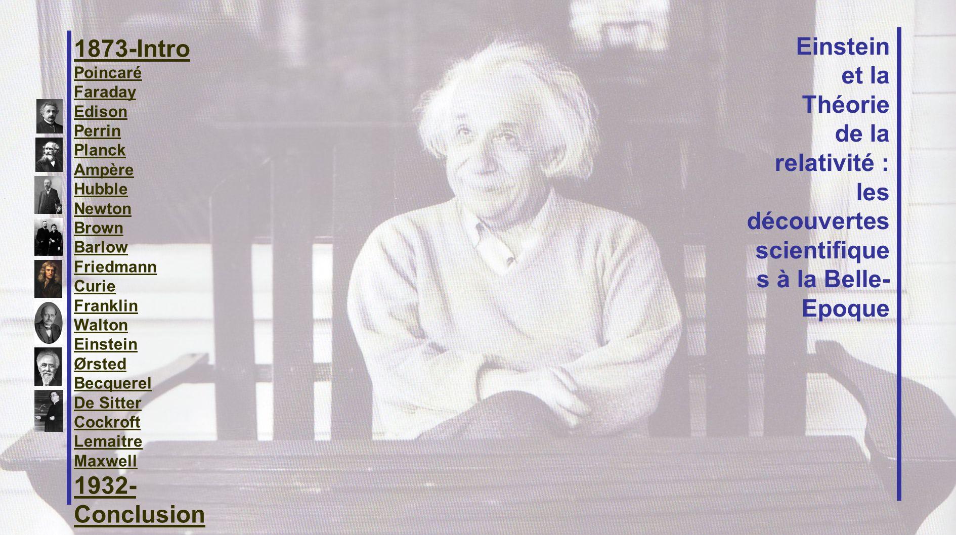 1873-Intro Poincaré Faraday Edison Perrin Planck Ampère Hubble Newton Brown Barlow Friedmann Curie Franklin Walton Einstein Ørsted Becquerel De Sitter