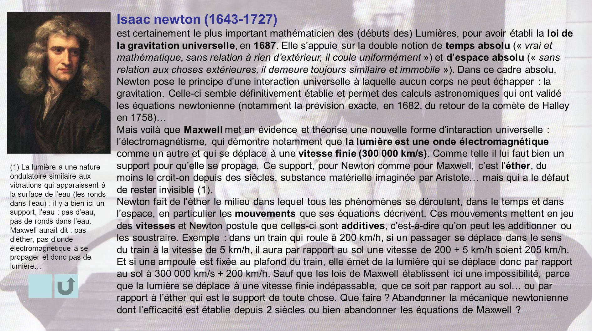 Isaac newton (1643-1727) est certainement le plus important mathématicien des (débuts des) Lumières, pour avoir établi la loi de la gravitation univer
