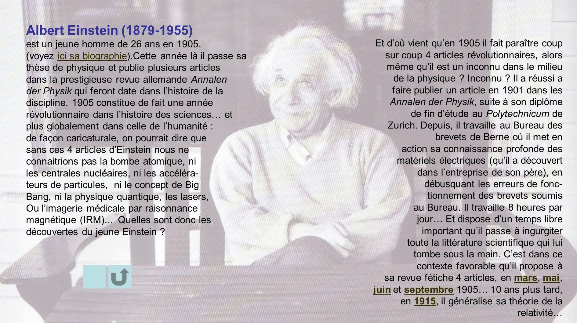 Albert Einstein (1879-1955) est un jeune homme de 26 ans en 1905. (voyez ici sa biographie).Cette année là il passe saici sa biographie thèse de physi