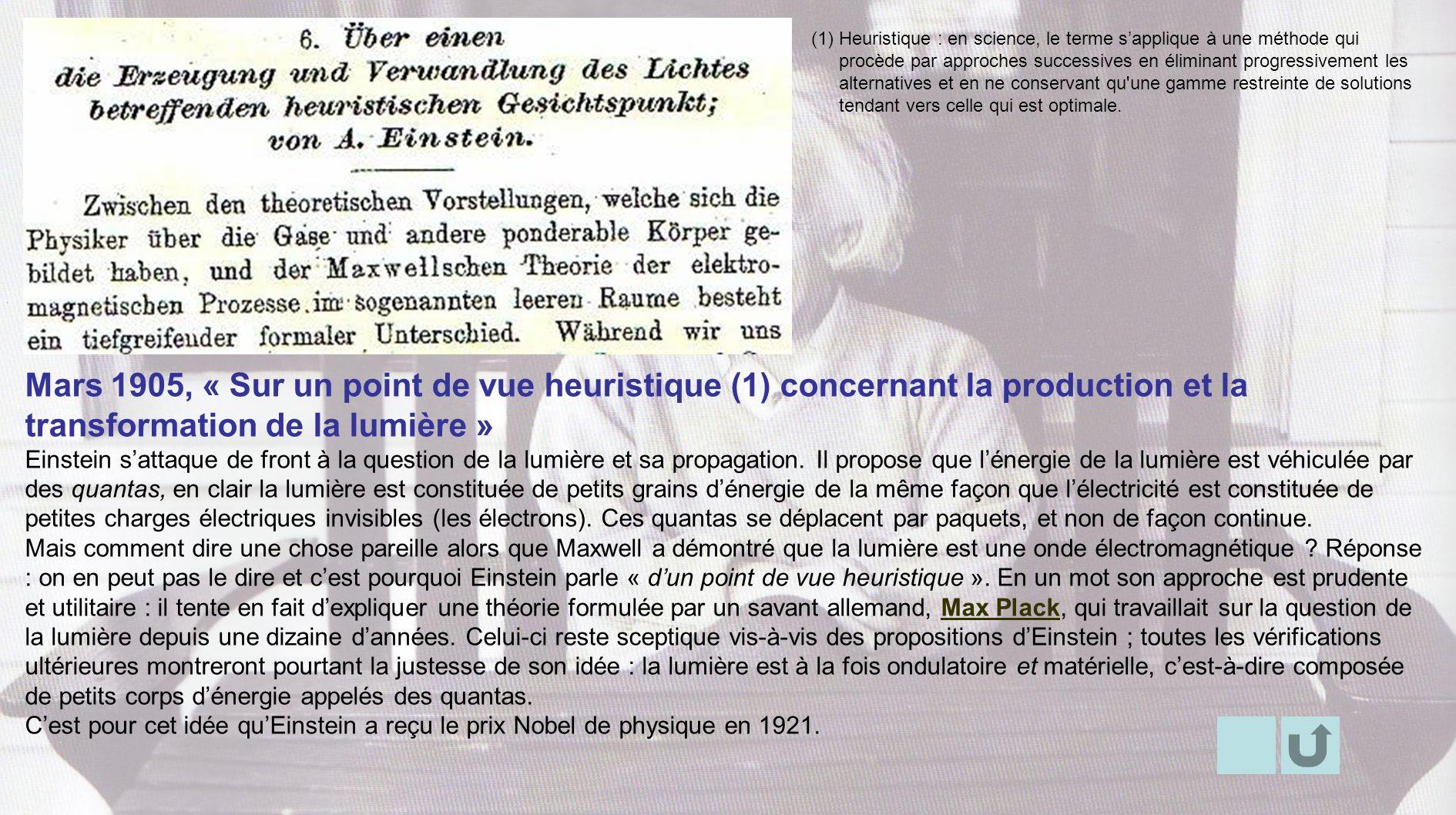 Mars 1905, « Sur un point de vue heuristique (1) concernant la production et la transformation de la lumière » Einstein sattaque de front à la questio