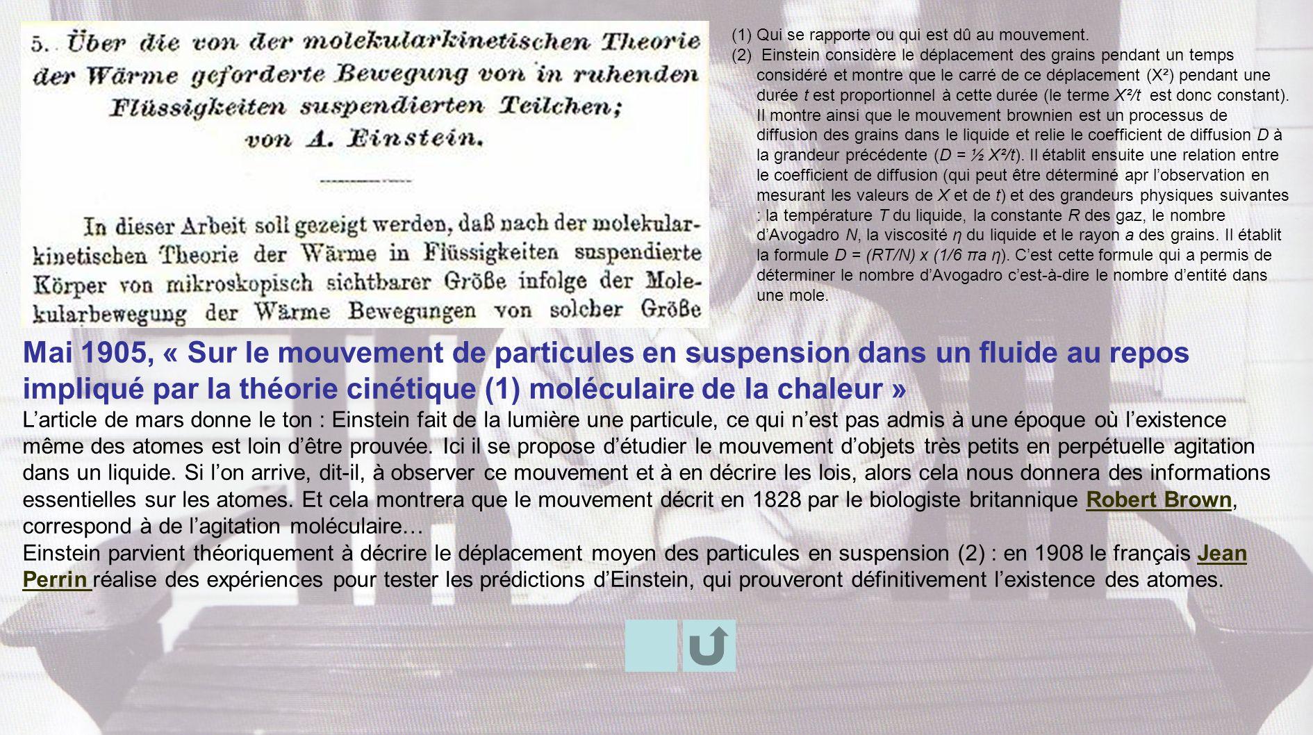 Mai 1905, « Sur le mouvement de particules en suspension dans un fluide au repos impliqué par la théorie cinétique (1) moléculaire de la chaleur » Lar