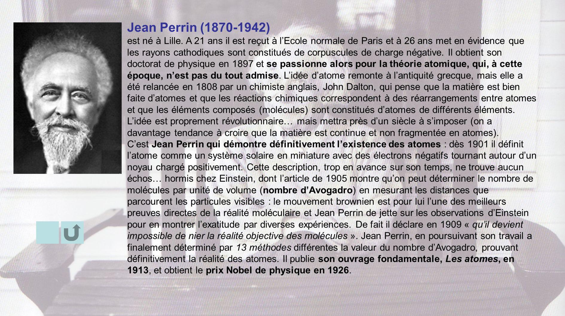 Jean Perrin (1870-1942) est né à Lille. A 21 ans il est reçut à lEcole normale de Paris et à 26 ans met en évidence que les rayons cathodiques sont co