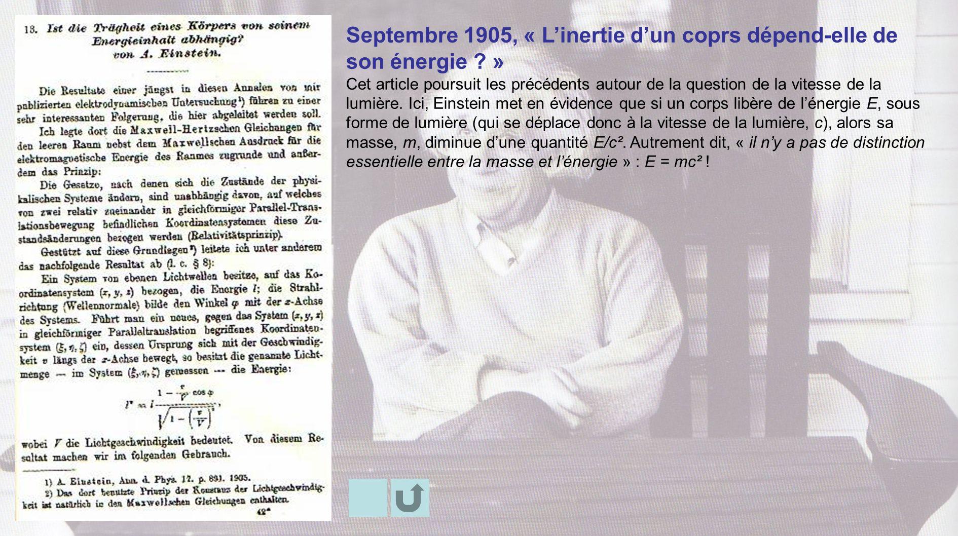 Septembre 1905, « Linertie dun coprs dépend-elle de son énergie ? » Cet article poursuit les précédents autour de la question de la vitesse de la lumi