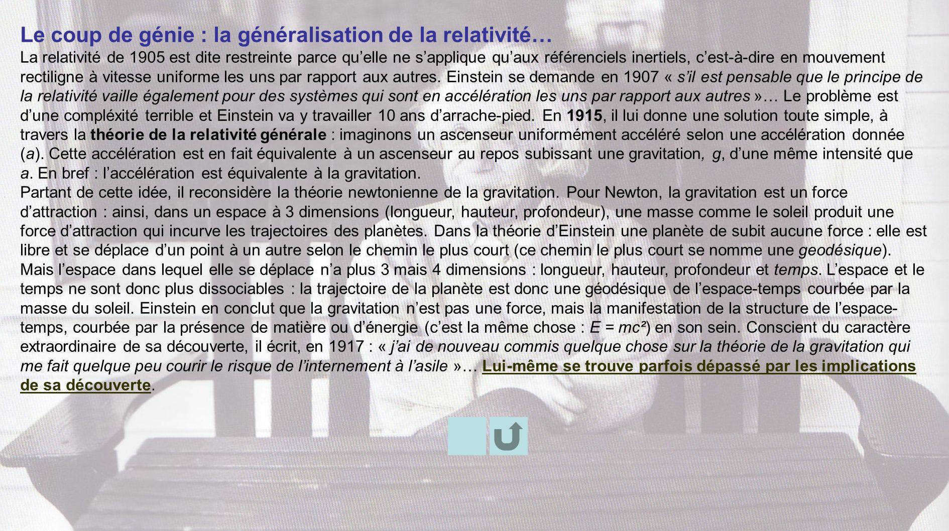 Le coup de génie : la généralisation de la relativité… La relativité de 1905 est dite restreinte parce quelle ne sapplique quaux référenciels inertiel