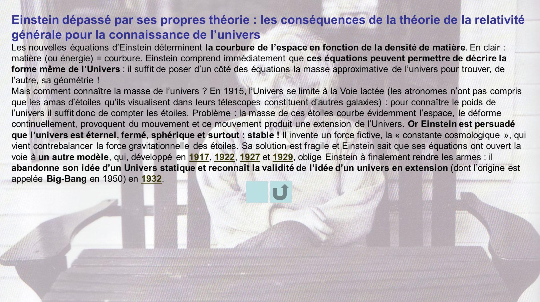 Einstein dépassé par ses propres théorie : les conséquences de la théorie de la relativité générale pour la connaissance de lunivers Les nouvelles équ