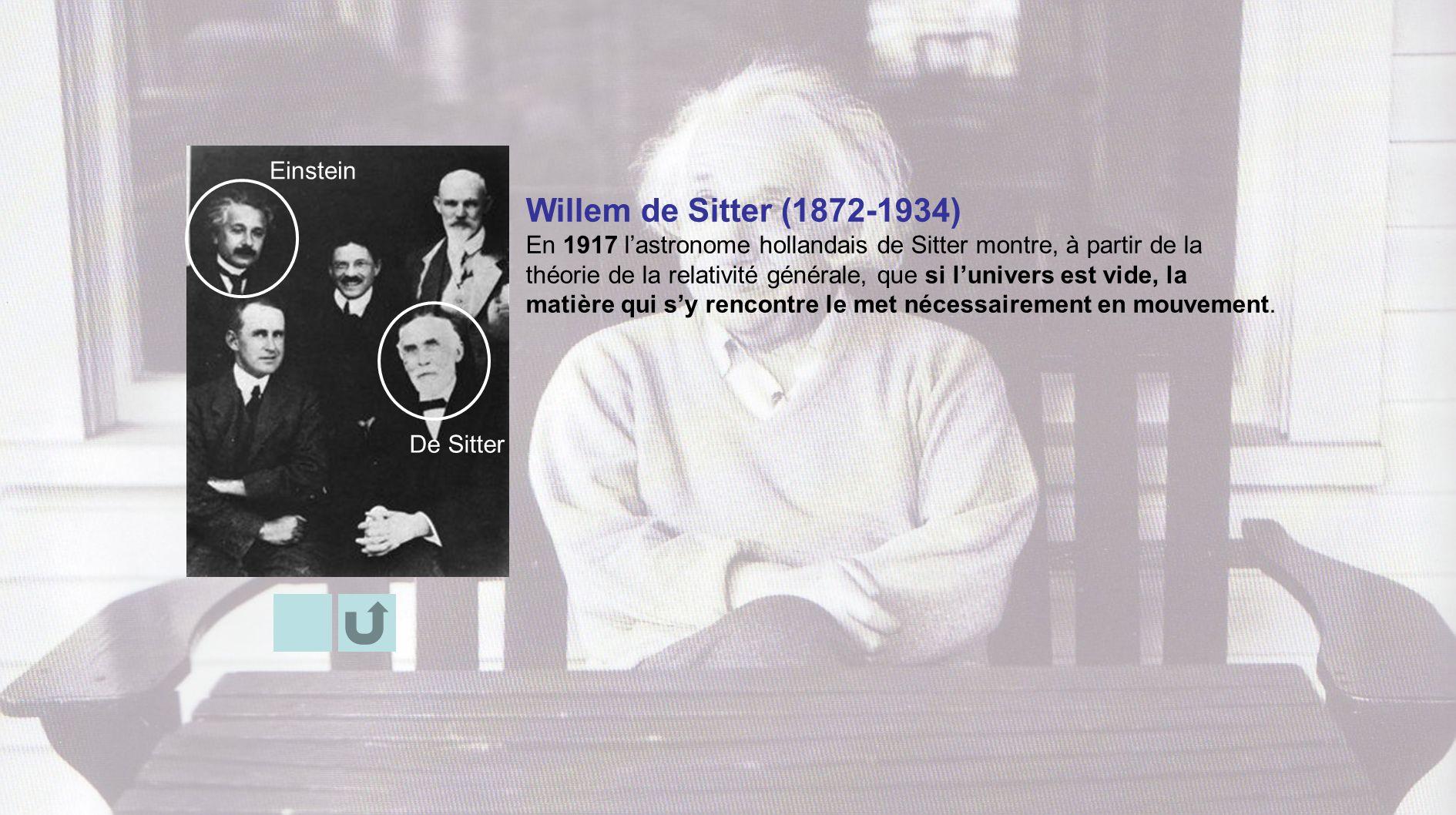 Willem de Sitter (1872-1934) En 1917 lastronome hollandais de Sitter montre, à partir de la théorie de la relativité générale, que si lunivers est vid