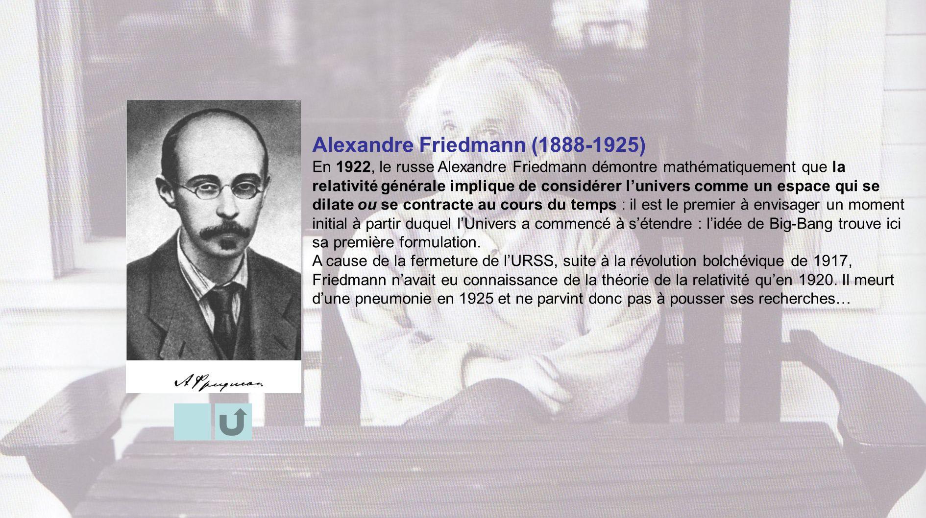 Alexandre Friedmann (1888-1925) En 1922, le russe Alexandre Friedmann démontre mathématiquement que la relativité générale implique de considérer luni