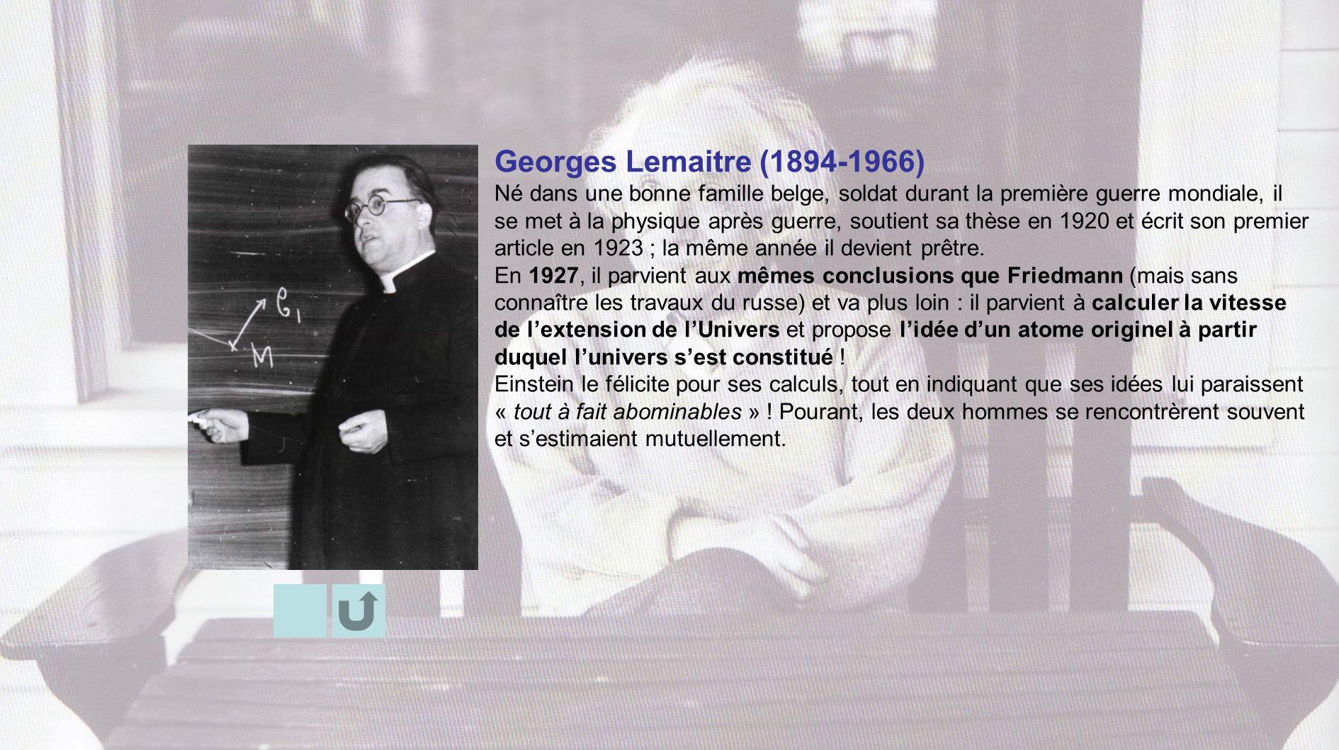 Georges Lemaitre (1894-1966) Né dans une bonne famille belge, soldat durant la première guerre mondiale, il se met à la physique après guerre, soutien