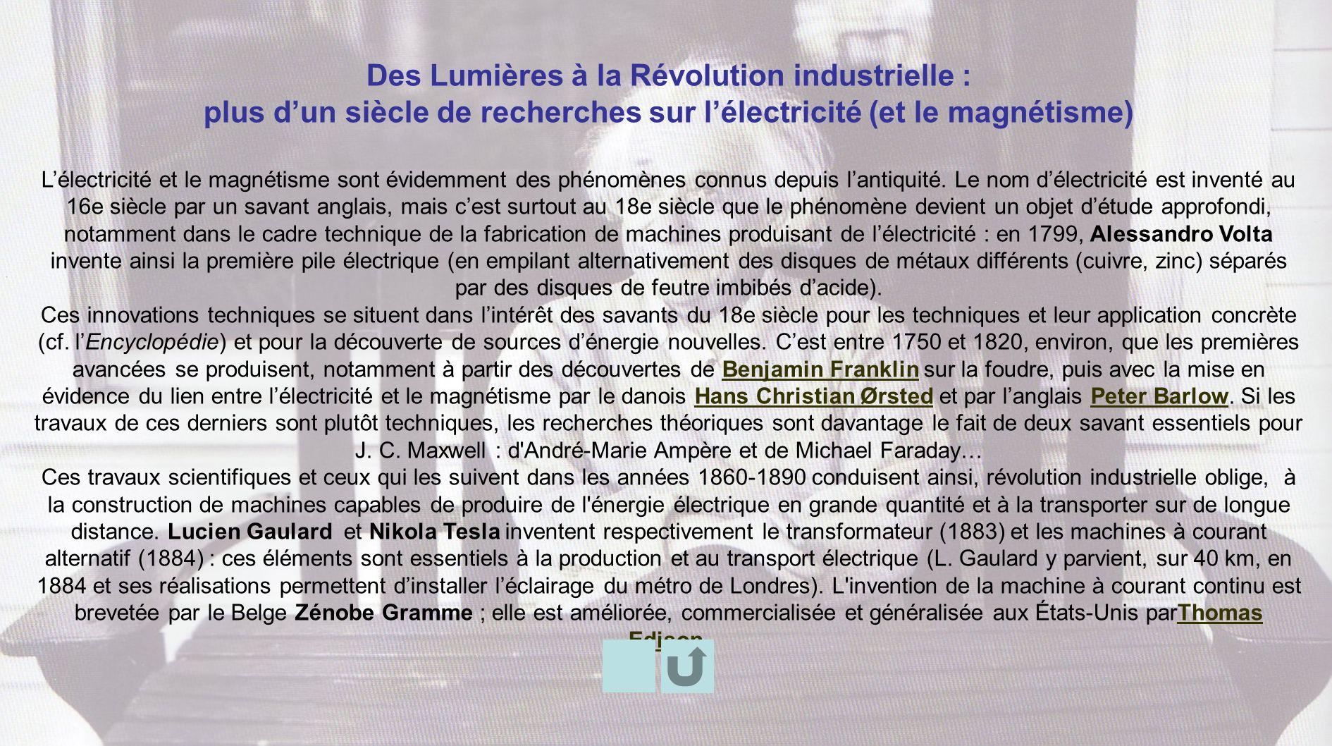 Des Lumières à la Révolution industrielle : plus dun siècle de recherches sur lélectricité (et le magnétisme) Lélectricité et le magnétisme sont évide