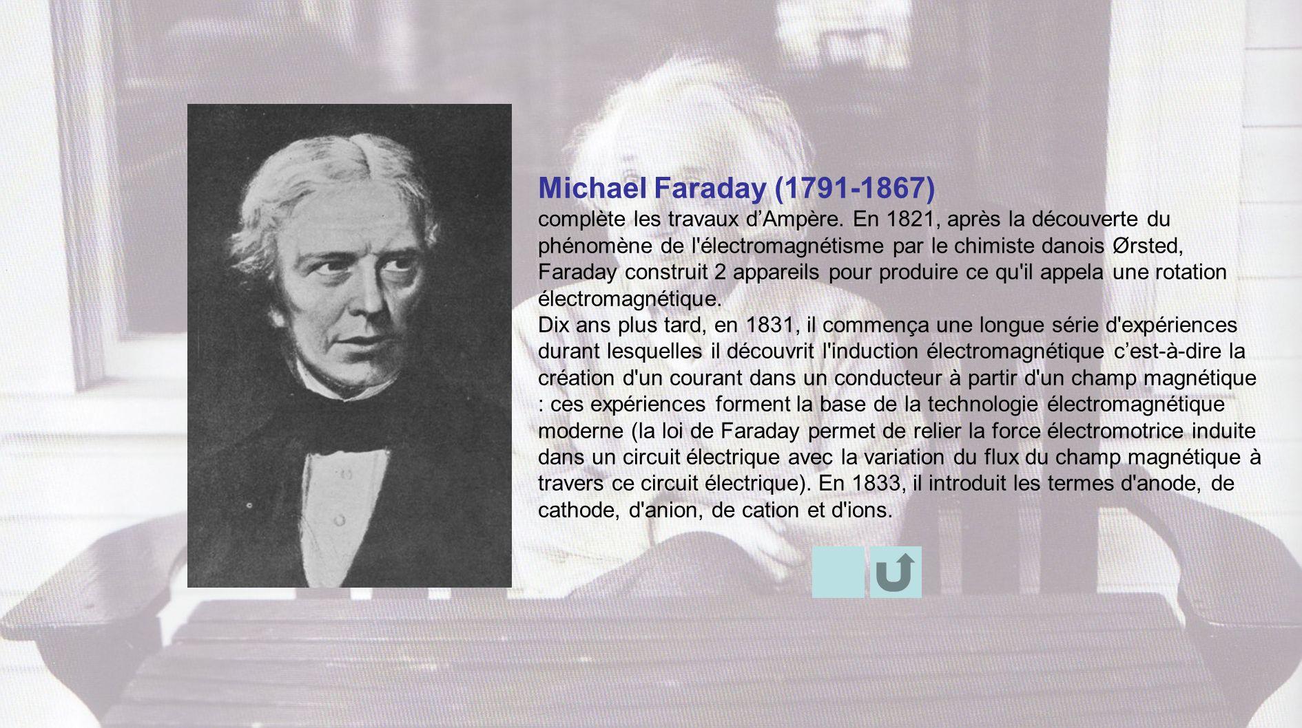 Michael Faraday (1791-1867) complète les travaux dAmpère. En 1821, après la découverte du phénomène de l'électromagnétisme par le chimiste danois Ørst