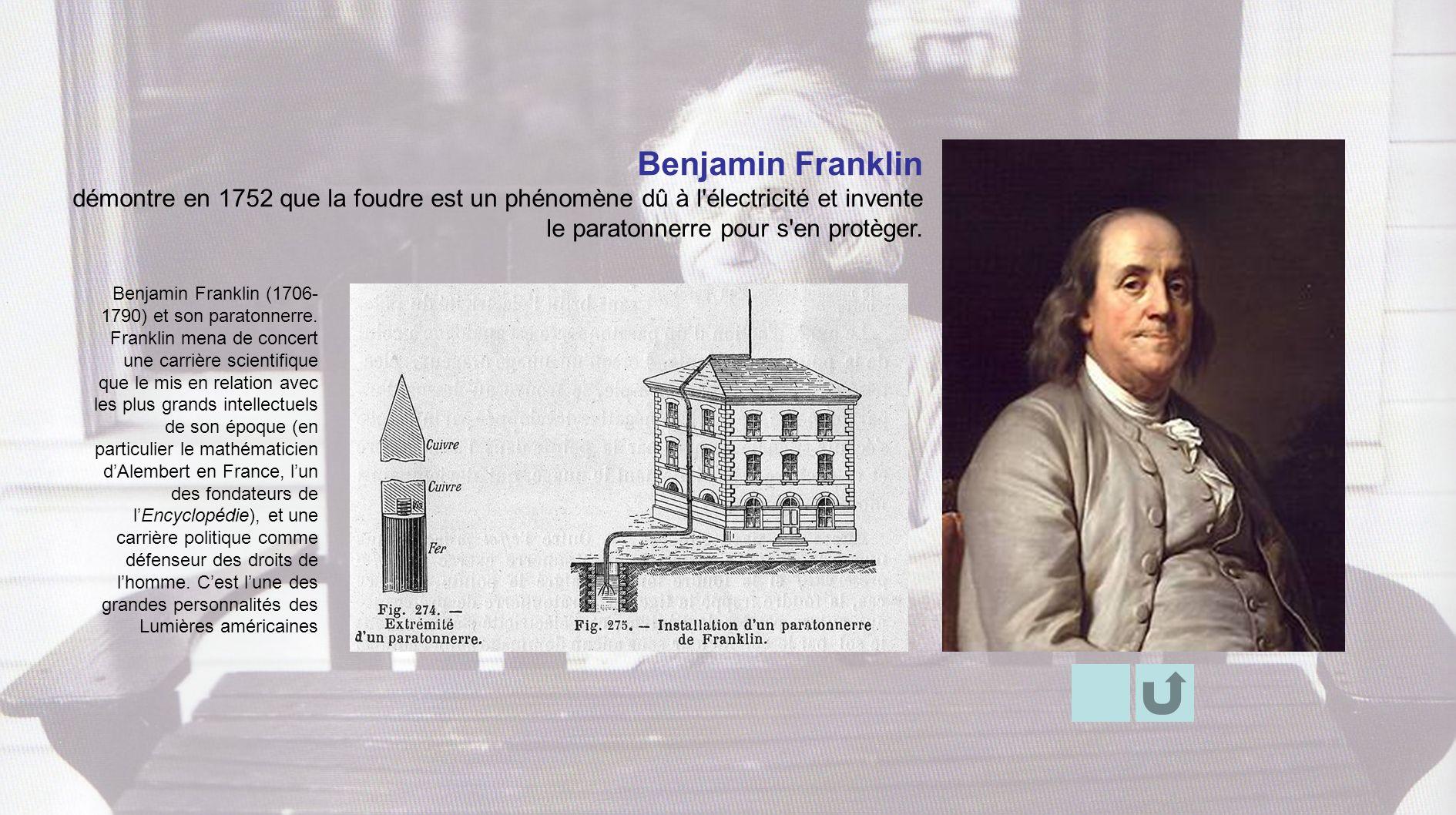 Benjamin Franklin (1706- 1790) et son paratonnerre. Franklin mena de concert une carrière scientifique que le mis en relation avec les plus grands int
