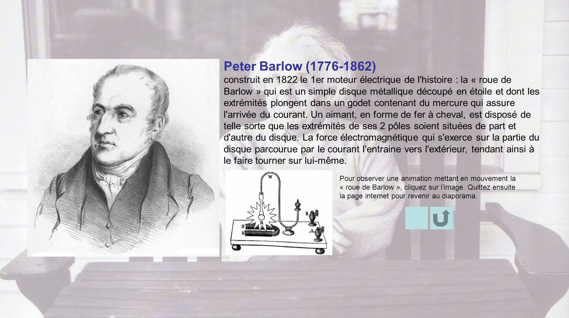 Pour observer une animation mettant en mouvement la « roue de Barlow », cliquez sur limage. Quittez ensuite la page internet pour revenir au diaporama