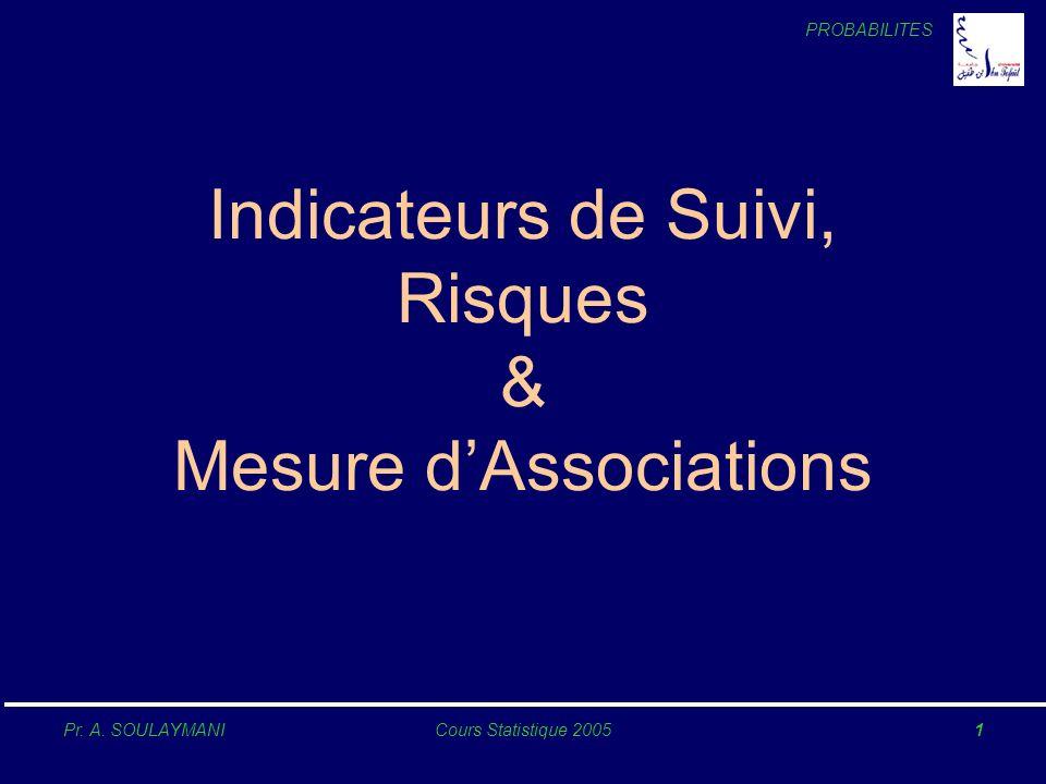 PROBABILITES Pr. A. SOULAYMANICours Statistique 20051 Indicateurs de Suivi, Risques & Mesure dAssociations