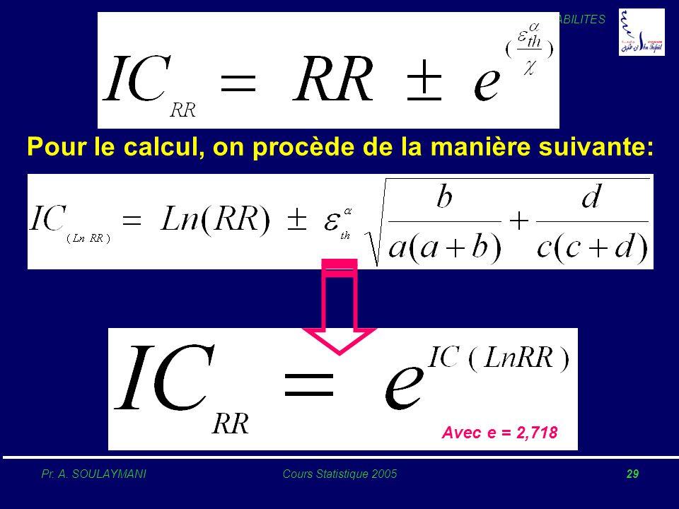 PROBABILITES Pr. A. SOULAYMANICours Statistique 200529 Pour le calcul, on procède de la manière suivante: Avec e = 2,718