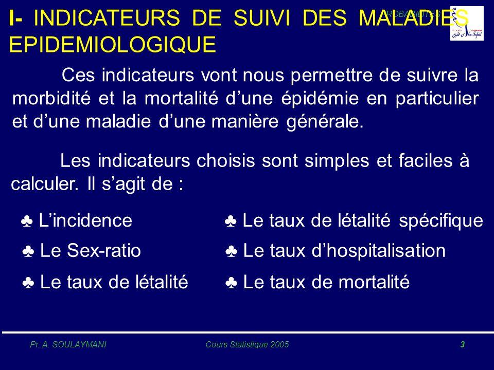 PROBABILITES Pr. A. SOULAYMANICours Statistique 20053 I- INDICATEURS DE SUIVI DES MALADIES EPIDEMIOLOGIQUE Ces indicateurs vont nous permettre de suiv