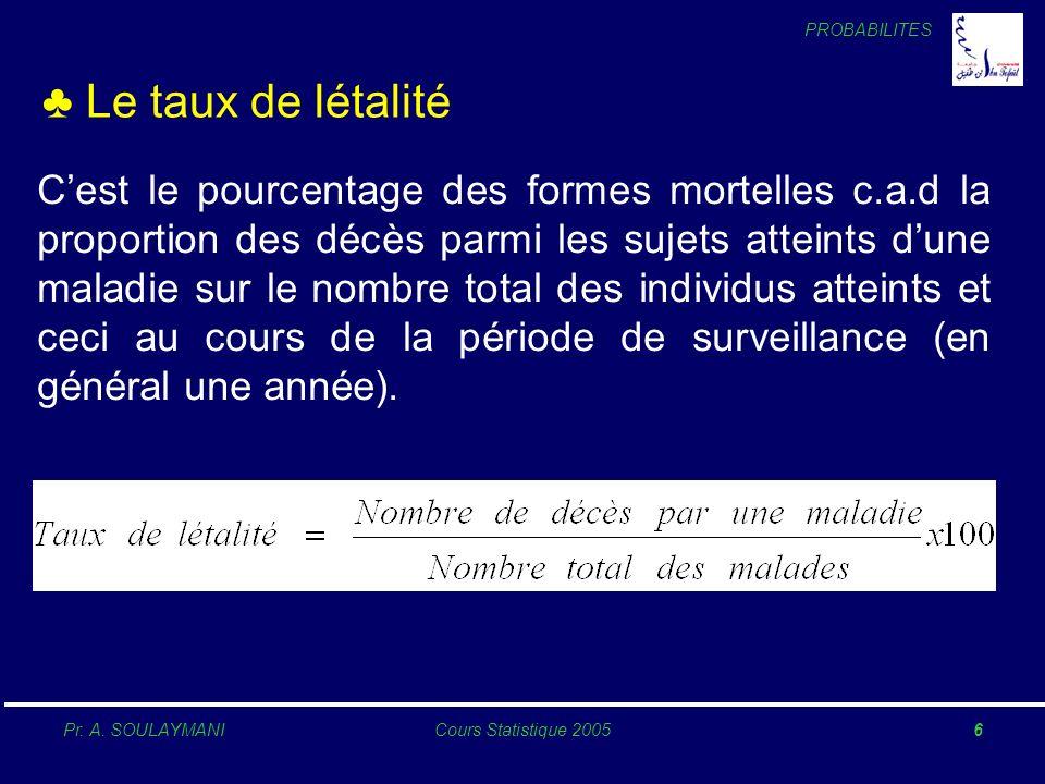 PROBABILITES Pr. A. SOULAYMANICours Statistique 20056 Le taux de létalité Cest le pourcentage des formes mortelles c.a.d la proportion des décès parmi