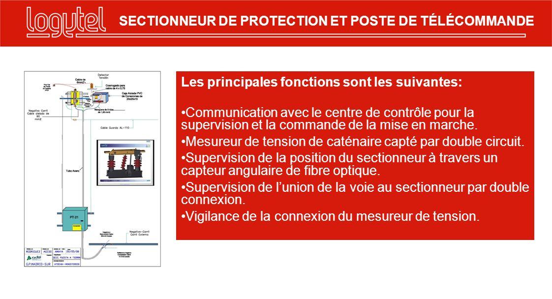 Les principales fonctions sont les suivantes: Communication avec le centre de contrôle pour la supervision et la commande de la mise en marche. Mesure