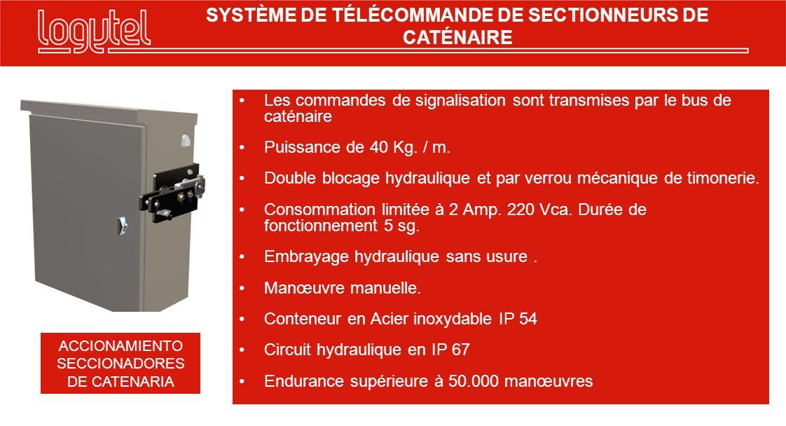 SYSTÈME DE TÉLÉCOMMANDE DE SECTIONNEURS DE CATÉNAIRE Contrôleur par câble: Communication lonwork 19kb jusquà 4km Entrés: 2 Fins de course optocoupleurs Sorties: 2 à relais pour Moteur.