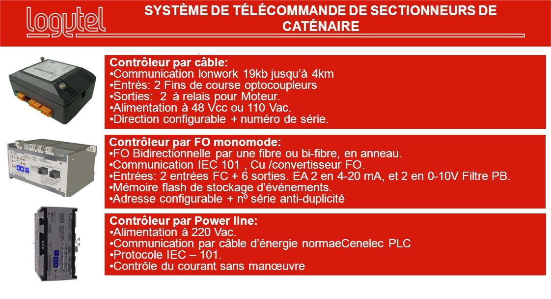. SYSTÈME DE TÉLÉCOMMANDE DE SECTIONNEURS DE CATÉNAIRE Contrôleur par câble: Communication lonwork 19kb jusquà 4km Entrés: 2 Fins de course optocouple