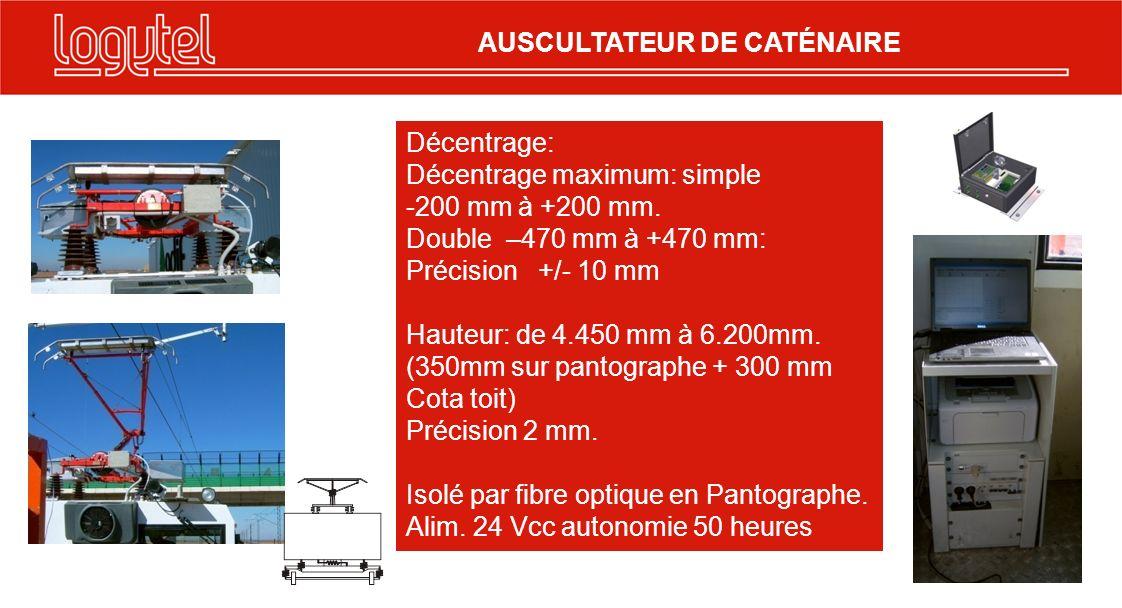 AUSCULTATEUR DE CATÉNAIRE Décentrage: Décentrage maximum: simple -200 mm à +200 mm. Double –470 mm à +470 mm: Précision +/- 10 mm Hauteur: de 4.450 mm