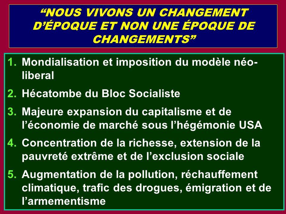 NOUS VIVONS UN CHANGEMENT DÉPOQUE ET NON UNE ÉPOQUE DE CHANGEMENTS 1.Mondialisation et imposition du modèle néo- liberal 2.Hécatombe du Bloc Socialist