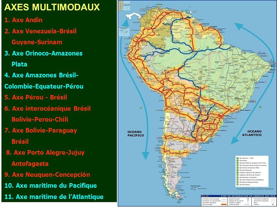 AXES MULTIMODAUX 1. Axe Andin 2. Axe Venezuela-Brésil Guyane-Surinam 3. Axe Orinoco-Amazones Plata 4. Axe Amazones Brésil- Colombie-Equateur-Pérou 5.
