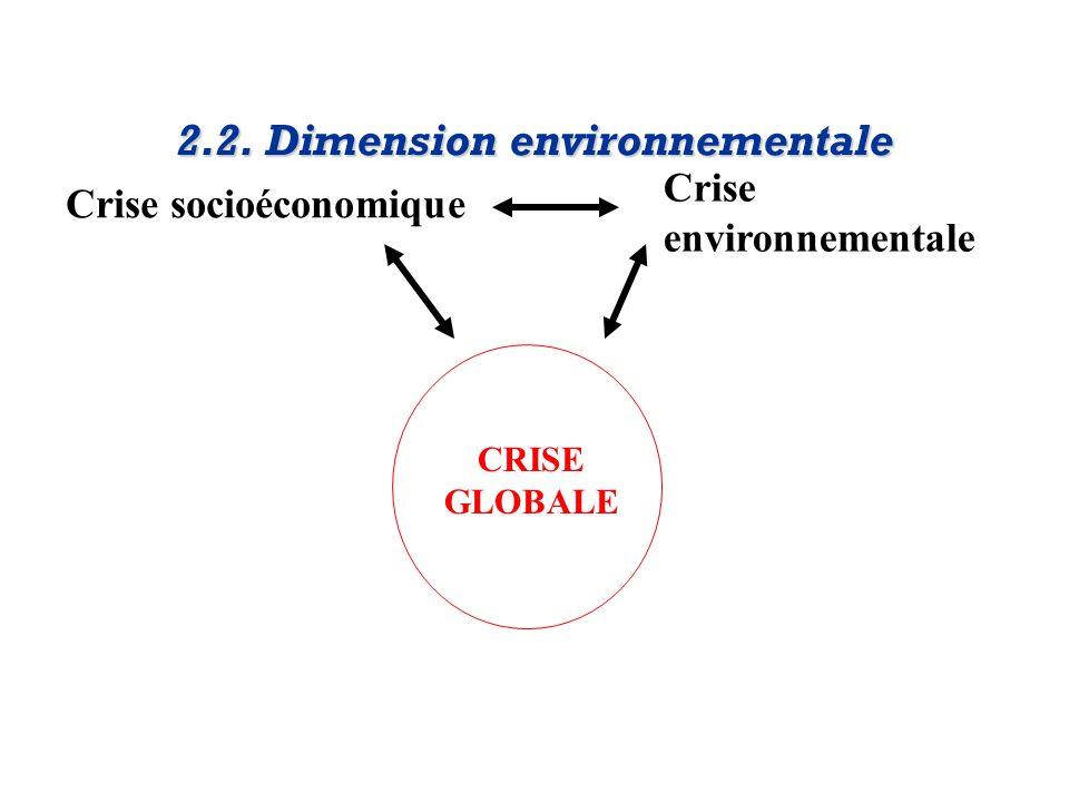 Crise socioéconomique Crise environnementale 2.2. Dimension environnementale CRISE GLOBALE