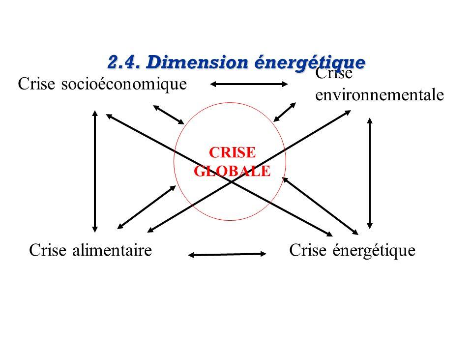 Crise socioéconomique Crise environnementale Crise alimentaireCrise énergétique 2.4. Dimension énergétique CRISE GLOBALE