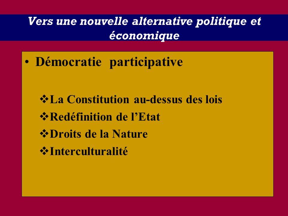 Vers une nouvelle alternative politique et économique Démocratie participative La Constitution au-dessus des lois Redéfinition de lEtat Droits de la N
